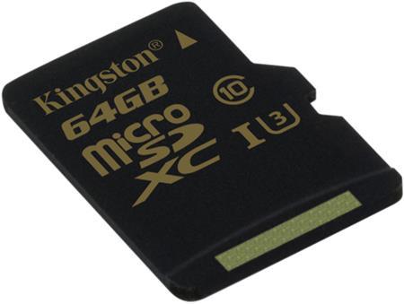 Kingston micro SDXC karta 64GB Gold UHS-I U3 (bez ad.); SDCG/64GBSP