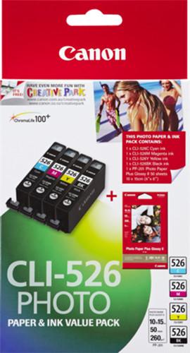 Canon CLI-526 C/M/Y/B + 50x PP-201; 4540B017