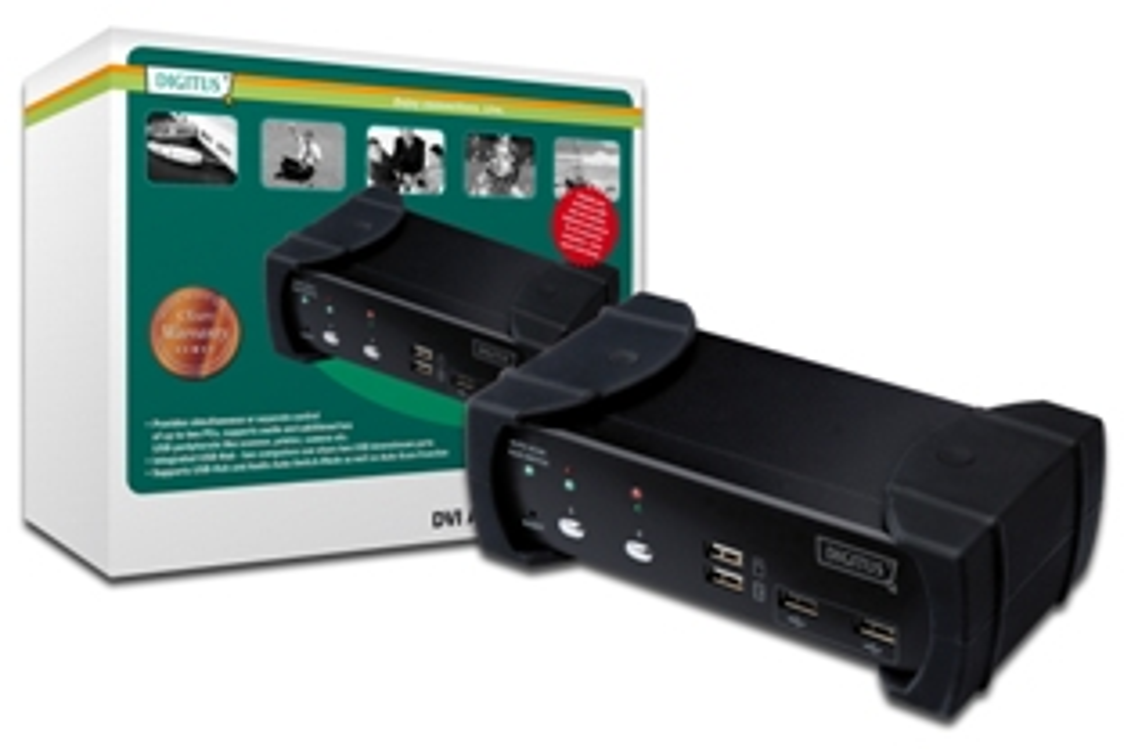 DIGITUS DVI-Audio-USB-KVM switch, 2-port, with integrated USB 2.0 Hub; DS-12820