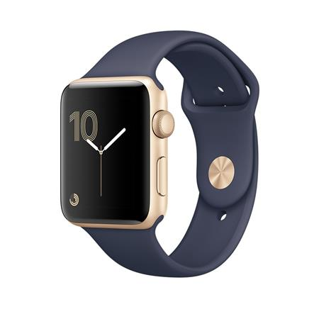 Apple Watch Series 2, 38mm Gold Aluminium Case with Midnight Blue Sport Band; MQ132CN/A