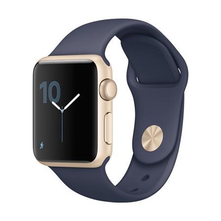 Apple Watch Series 1, 38mm Gold Aluminium Case with Midnight Blue Sport Band; MQ102CN/A