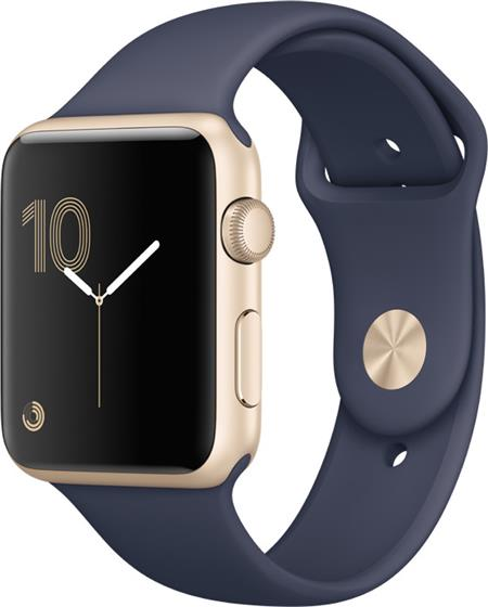 Apple Watch Series 1, 42mm Gold Aluminium Case with Midnight Blue Sport Band; MQ122CN/A