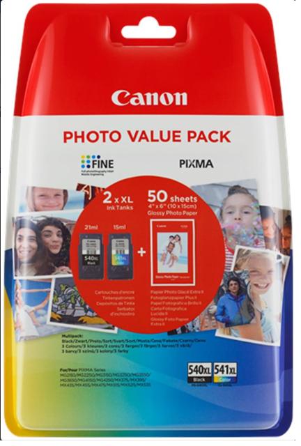 Canon PG-540XL (PG540XL) + CL-541XL (CL541XL) + 50x GP-501 - Multi pack - inkoust černý/barevný velký ; 5222B013
