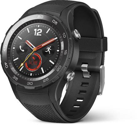 Huawei Watch 2, černý kožený pásek; WA-WATCHW2BOM