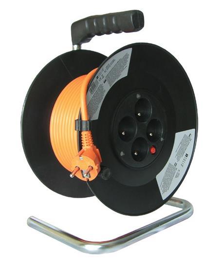 Solight prodlužovací přívod na bubnu, 4 zásuvky, oranžový, 50m; PB04