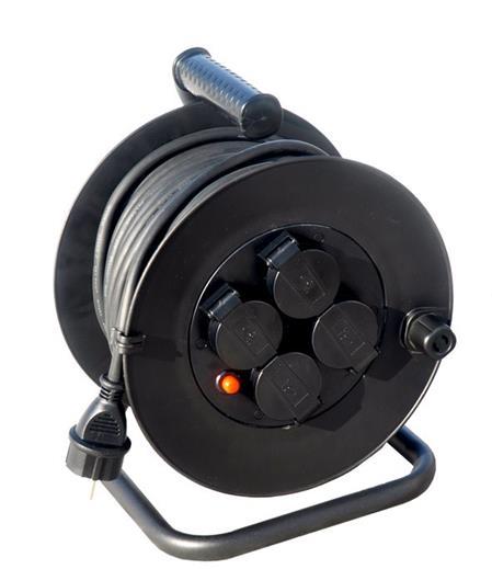 Solight prodlužovací přívod na bubnu, venkovní, 4 zásuvky, černý, 50m; PB34
