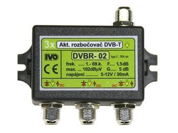 "Ivo DVBR-02X aktivní rozbočovač 3x výstup""F"" 5dB zisk; IVO-DVBR-02X"