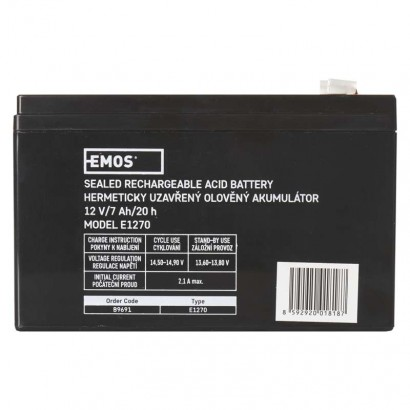EMOS Bezúdržbový olověný akumulátor 12V 7Ah; 1201004300