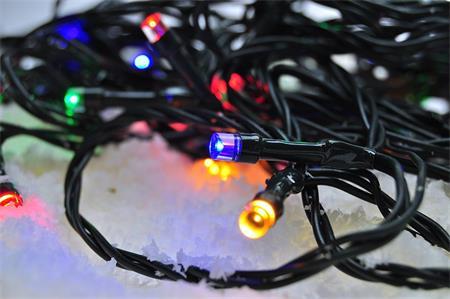 Solight 1V101-M LED venkovní vánoční řetěz, 100 LED, 10m, přívod 3m, 8 funkcí, časovač, IP44, vícebarevný; 1V101-M