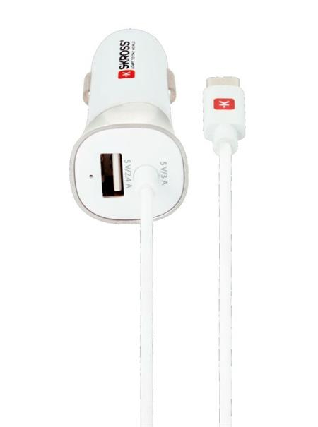 SKROSS USB nabíjecí autoadaptér Car Charger & Type-C, integrovaný kabel + 1x USB výstup navíc, 5400mA max.; DC29C