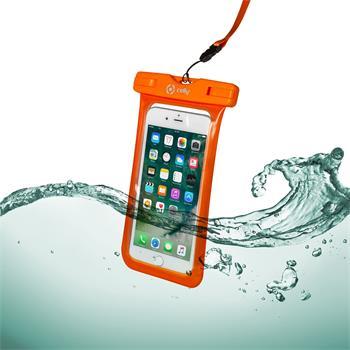 """Univerzální voděodolné pouzdro CELLY Splash Bag pro telefony 6,2"""", oranžové; SPLASHBAG18OR - Pouzdro CELLY Splash Bag telefony 6,2"""" oranžové"""