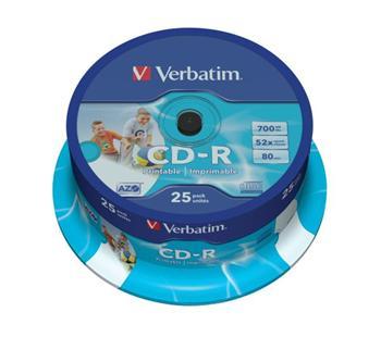 Verbatim CD-R 700MB 52x Printable, 25ks