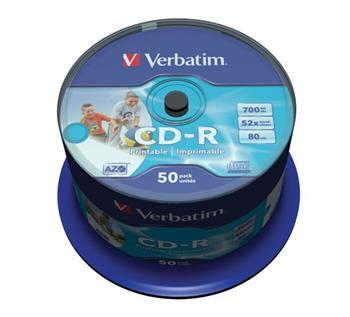 Verbatim CD-R 700MB 52x Printable, 50ks