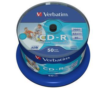 Verbatim CD-R 700MB 52x Printable No-ID, 50ks