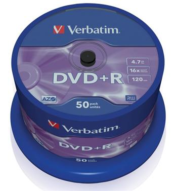 Verbatim DVD+R 4,7GB 16x, 50ks; 43550