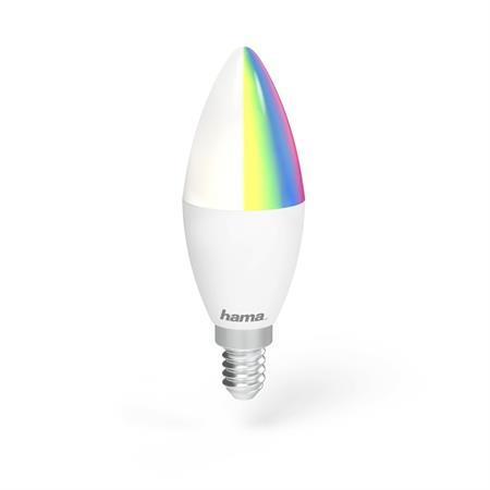 Hama WiFi LED žárovka, E14, 4,5 W, RGB, stmívatelná; 176549
