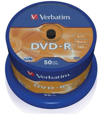 Verbatim DVD-R 4,7GB 16x, 50ks; 43548