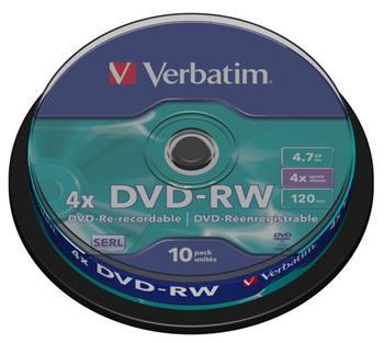 Verbatim DVD-RW 4,7GB 4x, 10ks