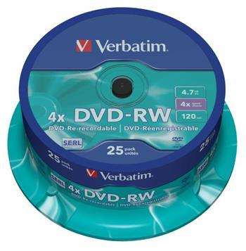 Verbatim DVD-RW 4,7GB 4x, 25ks