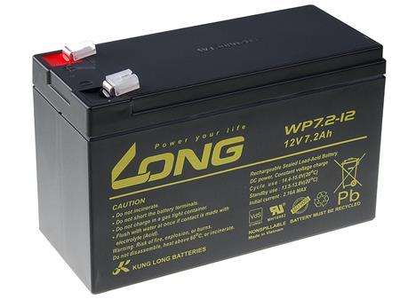Long 12V 7,2Ah olověný akumulátor F2 (WP7.2-12 F2); PBLO-12V007,2-F2A