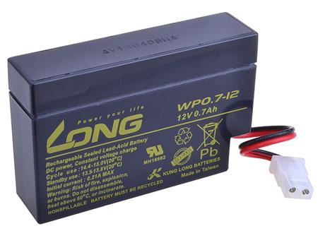 Long 12V 0,7Ah olověný akumulátor AMP (WP0.7-12); PBLO-12V000,7-AMP
