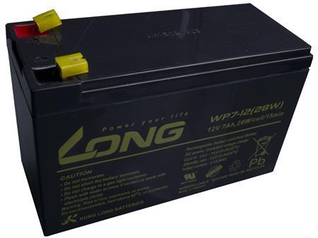 Long 12V 7Ah olověný akumulátor F1 (WPS7-12); PBLO-12V007-F1A