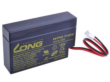 Long 12V 0,7Ah olověný akumulátor JST (WP0.7-12S); PBLO-12V000,7-JST