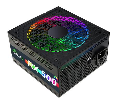 EVOLVEO RX 500, zdroj 500W ATX, RGB rainbow vent. 14cm, tichý, 80+, bulk; czerx500