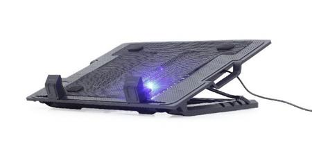 """Podstavec pod notebook Gembird NBS-1F17T-01, pro notebooky do 17"""", 125m větrák, LED, černý; NBS-1F17T-01 - GEMBIRD Notebook cooling stand with height adjustment, NBS-1F17T-01"""
