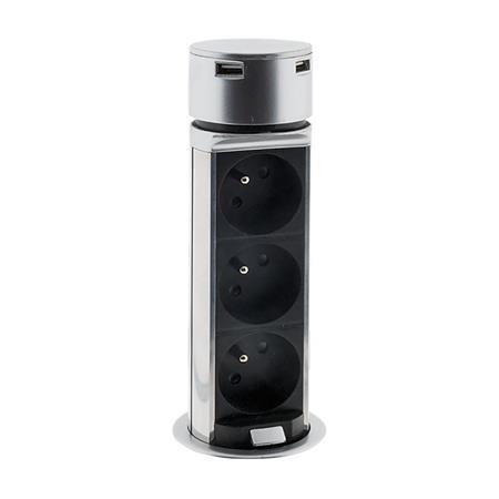 Solight 3z + USB výsuvný blok zásuvek, plast, kruhový tvar, prodlužovací přívod 1,5m, 3 x 1mm2, stříbrný; PP125