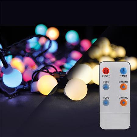 Solight LED 2v1 venkovní vánoční řetěz, koule, dálkový ovladač, 200LED, RGB+bílá, 20m+5m, 8 funkcí, IP44; 1V09-RGB