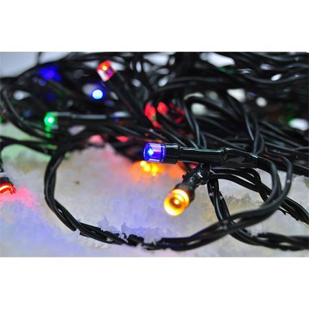 Solight LED venkovní vánoční řetěz, 50 LED, 5m, přívod 3m, 8 funkcí, časovač, IP44, vícebarevný; 1V110-M