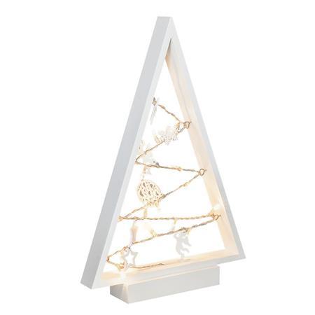 Solight LED dřevěný vánoční stromek s ozdobami, 15LED, přírodní dřevo, 37cm, 2x AA; 1V221