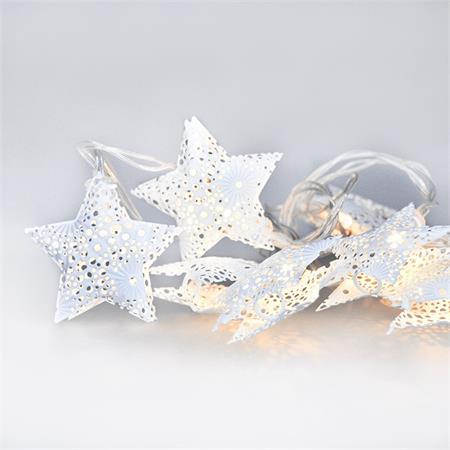 Solight LED řetěz vánoční hvězdy, kovové, bílé, 10LED, 1m, 2x AA, IP20 ; 1V224