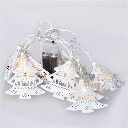 Solight LED řetěz vánoční stromky, kovové, bílé, 10LED, 1m, 2x AA, IP20 ; 1V225