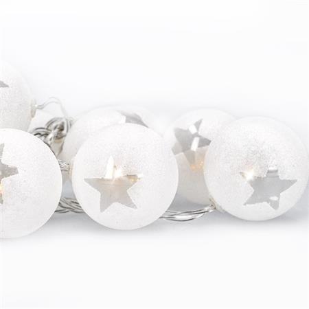 Solight LED řetěz vánoční koule, 10LED, 1m, 2x AA, časovač, IP20 ; 1V226