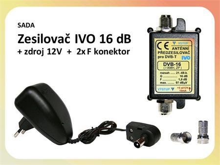 Zesilovač IVO DVB-16 / zdroj / 2x F konektor - výhodná sada; VBIVO16