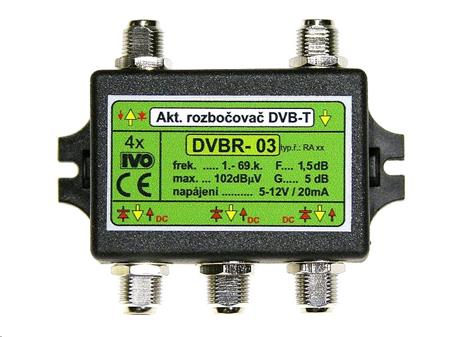"IVO DVBR-03 aktivní rozbočovač 4x výstup""F"" 5dB zisk; IVO-DVBR-03X"