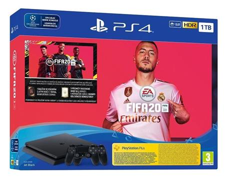 PlayStation 4 Slim 1TB, černý + hra FIFA20 + extra DS4; PS719976400
