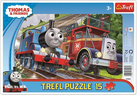 TREFL Puzzle Mašinka Tomáš a hasič Flynn 15 dílků; 116080
