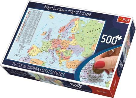 TREFL Scratch puzzle Politická mapa Evropy 500 dílků; 125424