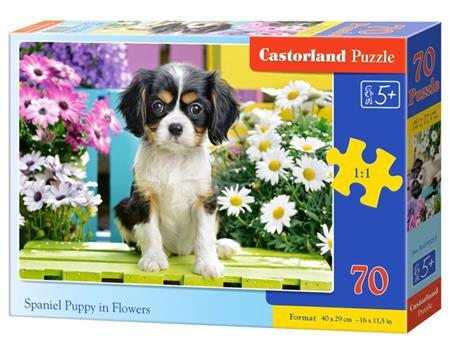 CASTORLAND Puzzle Štěně kavalír king charles španěla v květinách 70 dílků; 123673