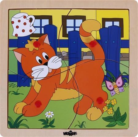 WOODY Dřevěné puzzle Kočička 4 dílky; 117895