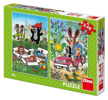 DINO Puzzle Krteček se raduje, Krtek a autíčko 2x48 dílků; 6842
