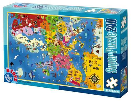D-TOYS Puzzle Mapa Evropy 240 dílků; 124421