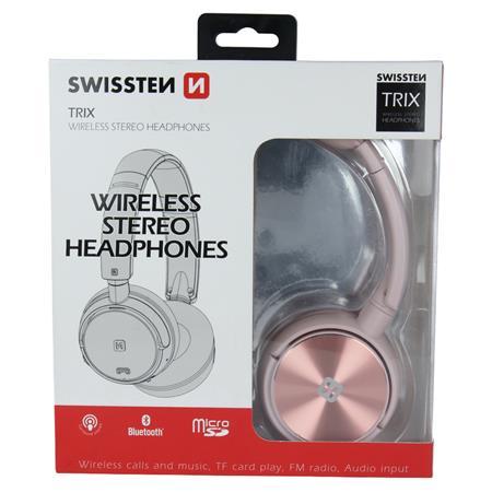 Swissten TRIX, růžové - bluetooth stereo sluchátka; 52510502