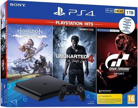 Sony PlayStation 4 Slim 1TB Black + (Gran Turismo Sport, Uncharted 4, Horizon Zero Dawn) (PS4); 9107045