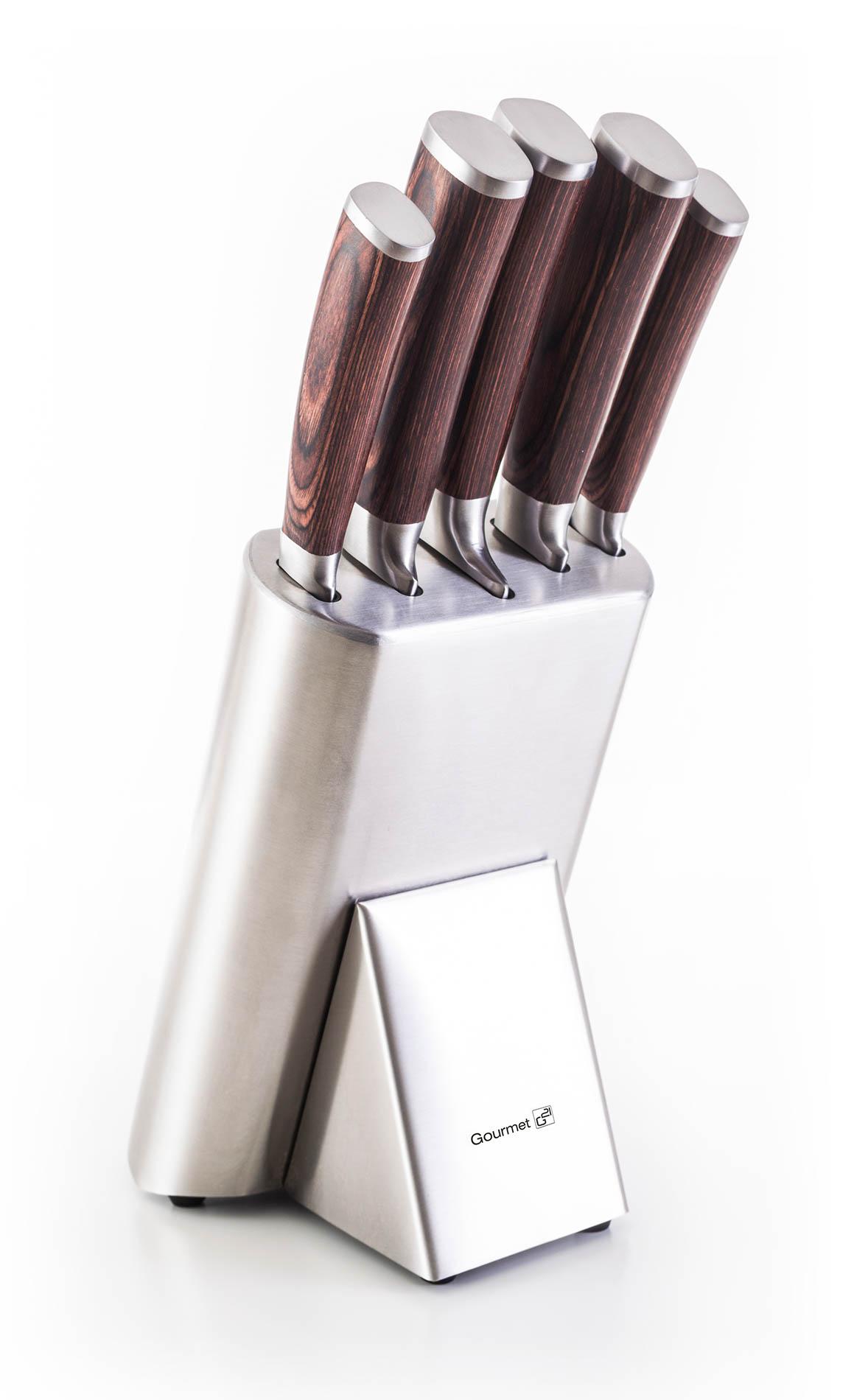 Sada nožů G21 Gourmet Steely 5 ks + nerez blok; NB-P2125 - G21 Sada nožů Gourmet Steely 5 ks