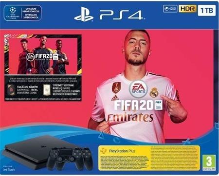 Sony Playstation 4 Slim 1TB Black + 2x Dualshock 4 + FIFA 20 - Playstation 4; 9106203