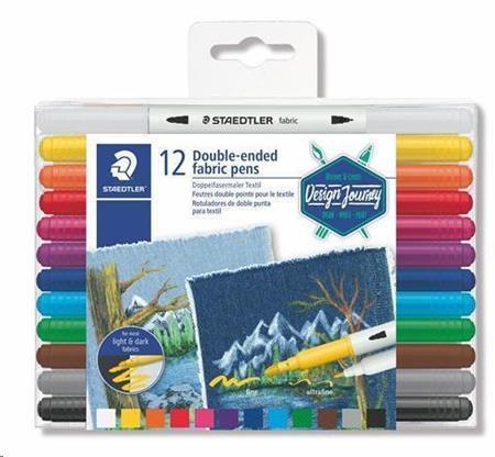 """Staedtler Fix na textil """"Design Journey"""", 12 různých barev, oboustranné; 3190 TB12 - STAEDTLER Fix na textil """"Design Journey"""" 12 různých barev oboustranné"""